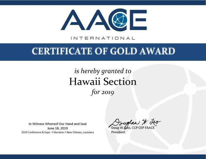 02 Hawaii 2019 Section Award Certificate