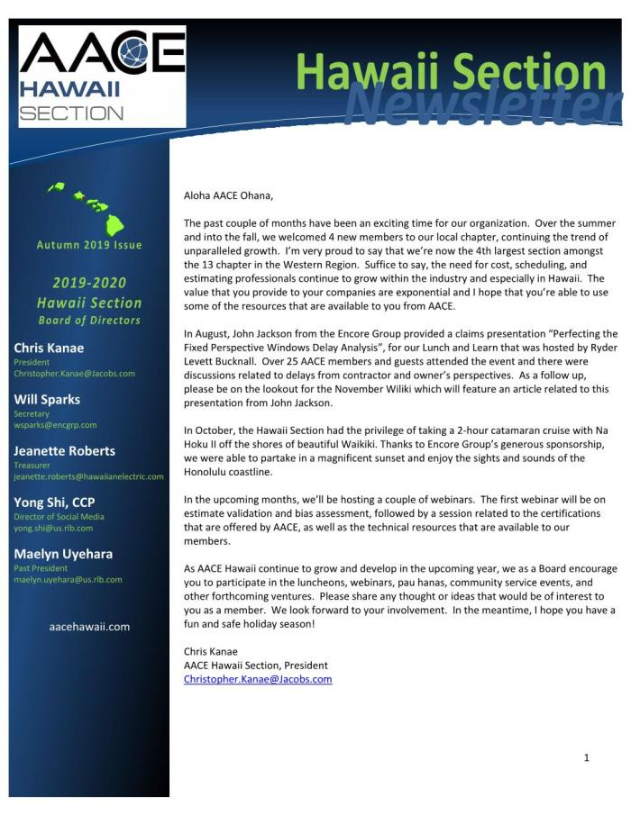 AACE HI Newsletter 2019-11 Autumn Page 001