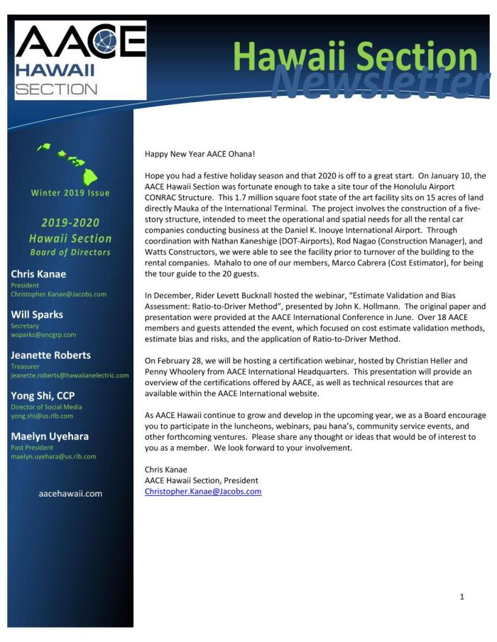 AACE HI Newsletter Page 001